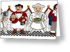 4 Chefs Greeting Card by John Keaton
