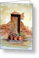 Door With Pots Greeting Card by Sam Sidders