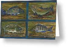 4 Fishes Greeting Card by Anna Folkartanna Maciejewska-Dyba