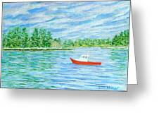Maine Lobster Boat Greeting Card by Collette Hurst