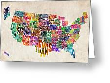 United States Text Map Greeting Card by Michael Tompsett