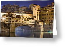 Vecchio Bridge At Night Greeting Card by Andre Goncalves