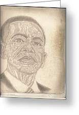 44th President Barack Obama By Artist Fontella Moneet Farrar Greeting Card by Fontella Farrar
