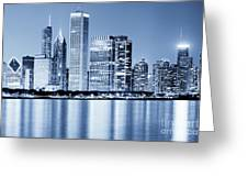 Chicago Skyline At Night Greeting Card by Paul Velgos