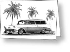 56 Chevy Wagon Greeting Card by Peter Piatt