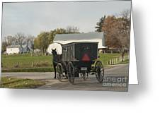 Amish Buggy Greeting Card by David Arment
