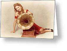 60s Pin Up Girl With Vintage Record Phonograph Greeting Card by Ryan Jorgensen