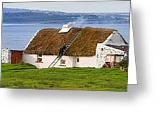 Traditional Thatch Roof Cottage Ireland Greeting Card by Pierre Leclerc Photography