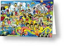 70 Illustrated Beatles' Song Titles Greeting Card by Ron Magnes