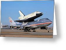 747 Takes Off With Space Shuttle Enterprise For Alt-4 Greeting Card by Brian Lockett