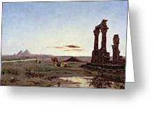 A Bedouin Encampment By A Ruined Temple  Greeting Card by Alexandre Gabriel Decamps