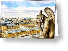 A Bored Gargoyle Sees Paris Greeting Card by Mark E Tisdale