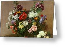 A Bouquet Of Mixed Flowers Greeting Card by Ignace Henri Jean Fantin-Latour