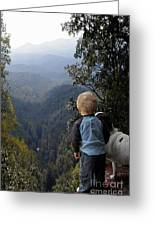 A Boy And His Dog Greeting Card by Robert Meanor