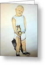A Boy On A Stickhorse Greeting Card by Edward Ruth