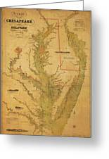 A Chart Chesapeake And Delaware Greeting Card by Randy Vreeke