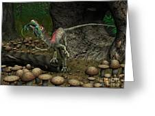 A Compsognathus Prepares To Swallow Greeting Card by Walter Myers