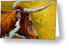A Couple Of Pointers - Longhorn Steer Greeting Card by Marion Rose