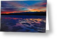 A Death Valley Sunset In The Badwater Basin Greeting Card by Kim Michaels
