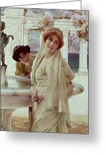 A Difference Of Opinion Greeting Card by Sir Lawrence Alma-Tadema