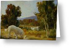 A Great Pyrenees With A Lamb Greeting Card by Lilli Pell