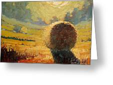 A Hay Bale In The French Countryside Greeting Card by Robert Lewis