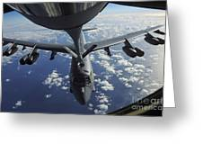 A Kc-135 Stratotanker Aircraft Refuels Greeting Card by Stocktrek Images