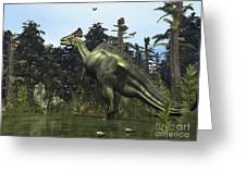 A Lambeosaurus Rears Onto Its Hind Legs Greeting Card by Walter Myers