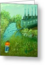 A Little Boy Peeing In The Willamette River Greeting Card by DJ Russell