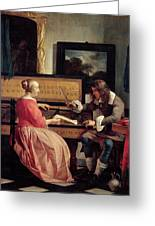 A Man And A Woman Seated By A Virginal Greeting Card by Gabriel Metsu