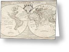 A Map Of The World Greeting Card by John Senex