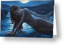 A Mermaid In The Moonlight - Love Is Mystery Greeting Card by Marco Busoni