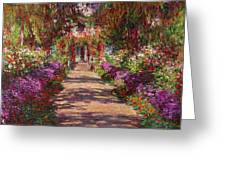 A Pathway In Monets Garden Giverny Greeting Card by Claude Monet