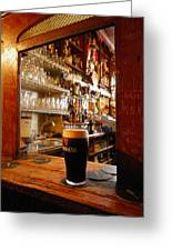 A Pint Of Dark Beer Sits In A Pub Greeting Card by Jim Richardson