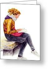 A Reading Girl In Milan Greeting Card by Jingfen Hwu