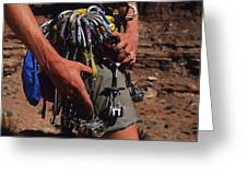 A Rock Climber Check Her Gear Greeting Card by Bill Hatcher