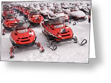 A Row Of Snowmobiles Sit Waiting Greeting Card by Taylor S. Kennedy