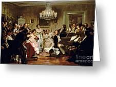 A Schubert Evening In A Vienna Salon Greeting Card by Julius Schmid