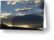 A Silhouetted Figure Trail Running Greeting Card by Bobby Model