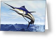 A Sleek Blue Marlin Bursts Greeting Card by Corey Ford