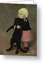 A Small Girl With A Cat Greeting Card by TA Steinlen