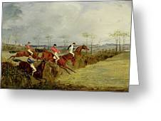 A Steeplechase - Taking A Hedge And Ditch  Greeting Card by Henry Thomas Alken