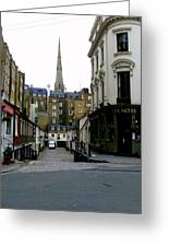 A Street In London Greeting Card by Mindy Newman