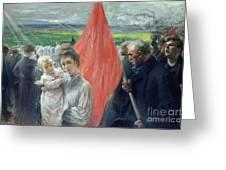 A Strike At Saint Ouen Greeting Card by Paul Louis Delance