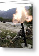 A U.s. Army Soldier Ducking Away Greeting Card by Stocktrek Images