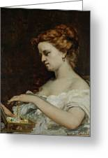 A Woman With Jewellery Greeting Card by Gustave Courbet