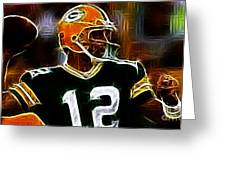 Aaron Rodgers - Green Bay Packers Greeting Card by Paul Ward