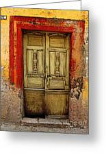 Abandoned Green Door 1 Greeting Card by Olden Mexico