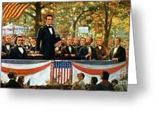 Abraham Lincoln And Stephen A Douglas Debating At Charleston Greeting Card by Robert Marshall Root
