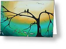 Abstract Art Landscape Bird Painting Family Perch By Madart Greeting Card by Megan Duncanson